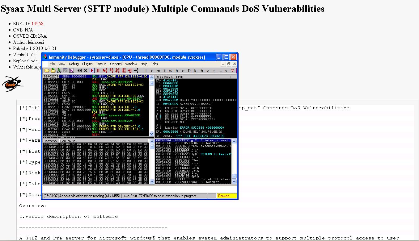 Sysax Multi Server < 5 25 (SFTP Module) - Multiple Denial of Service