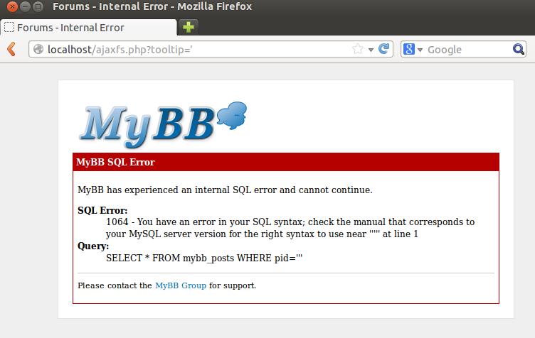 MyBB Ajaxfs 2 Plugin - SQL Injection