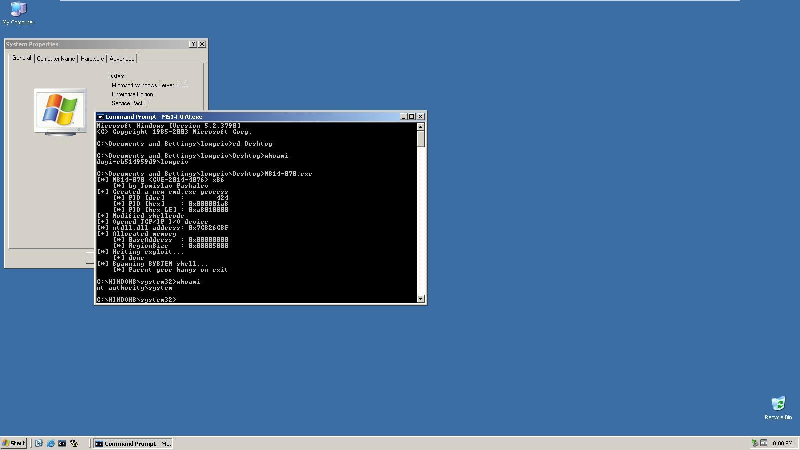 Microsoft Windows Server 2003 SP2 - TCP/IP IOCTL Privilege