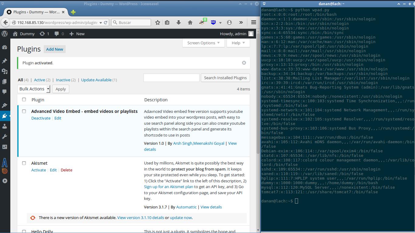 WordPress Plugin Advanced Video 1 0 - Local File Inclusion