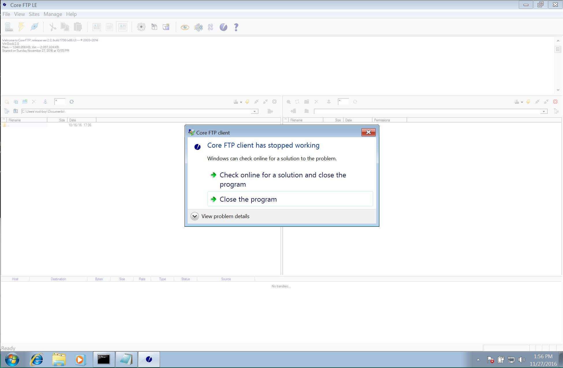 Core FTP LE 2 2 - 'SSH/SFTP' Remote Buffer Overflow (PoC